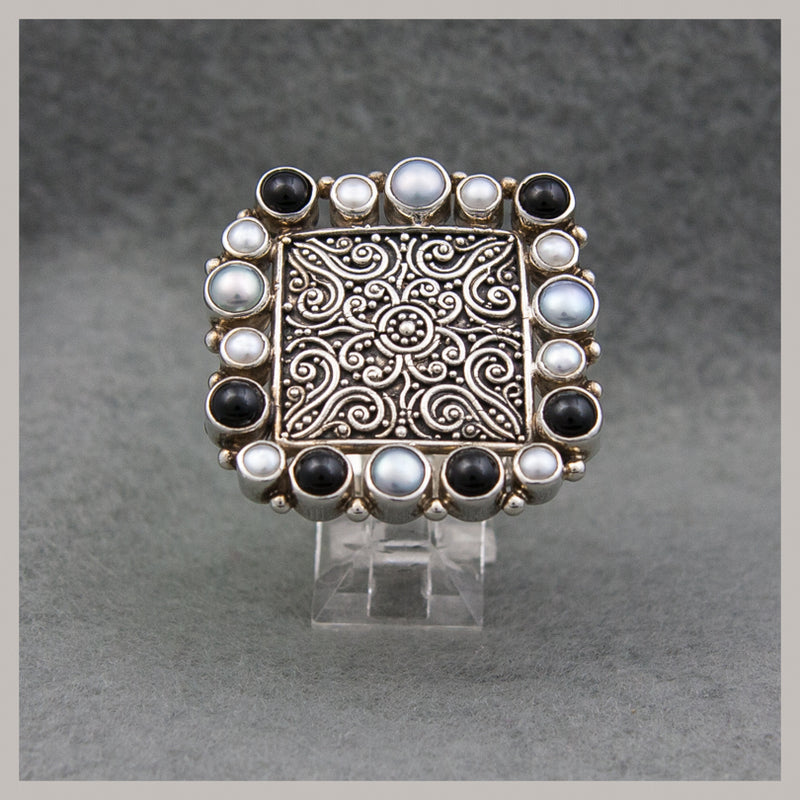 Black Onyx and Pearl Ring