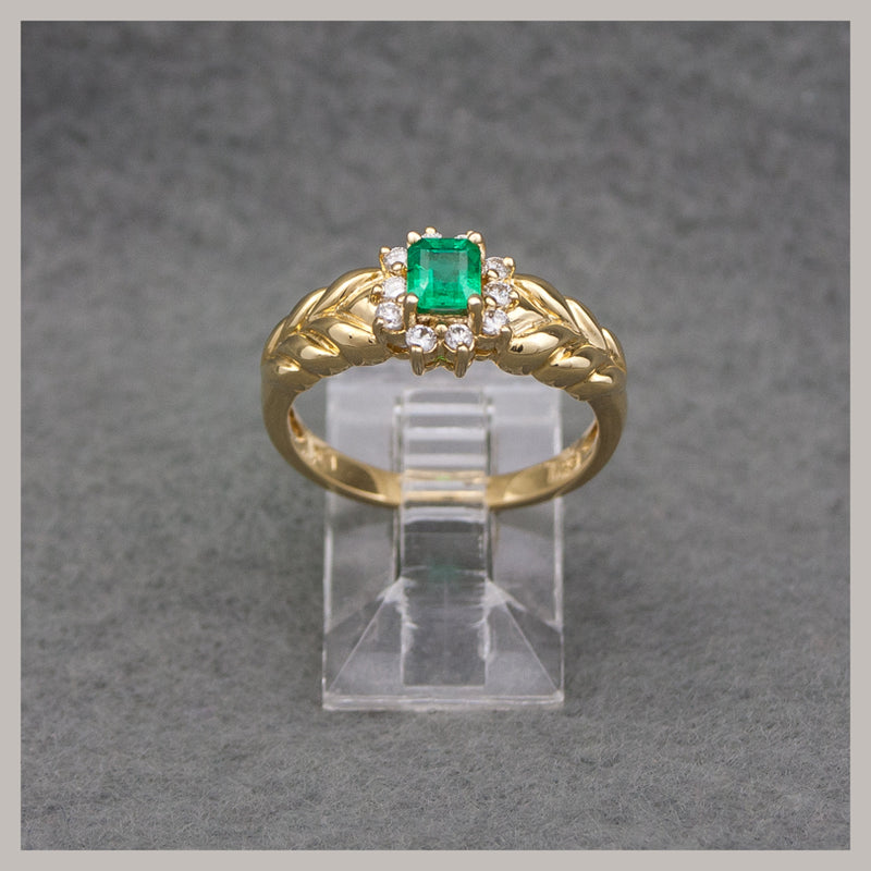 Emerald and Diamond Gold Ring