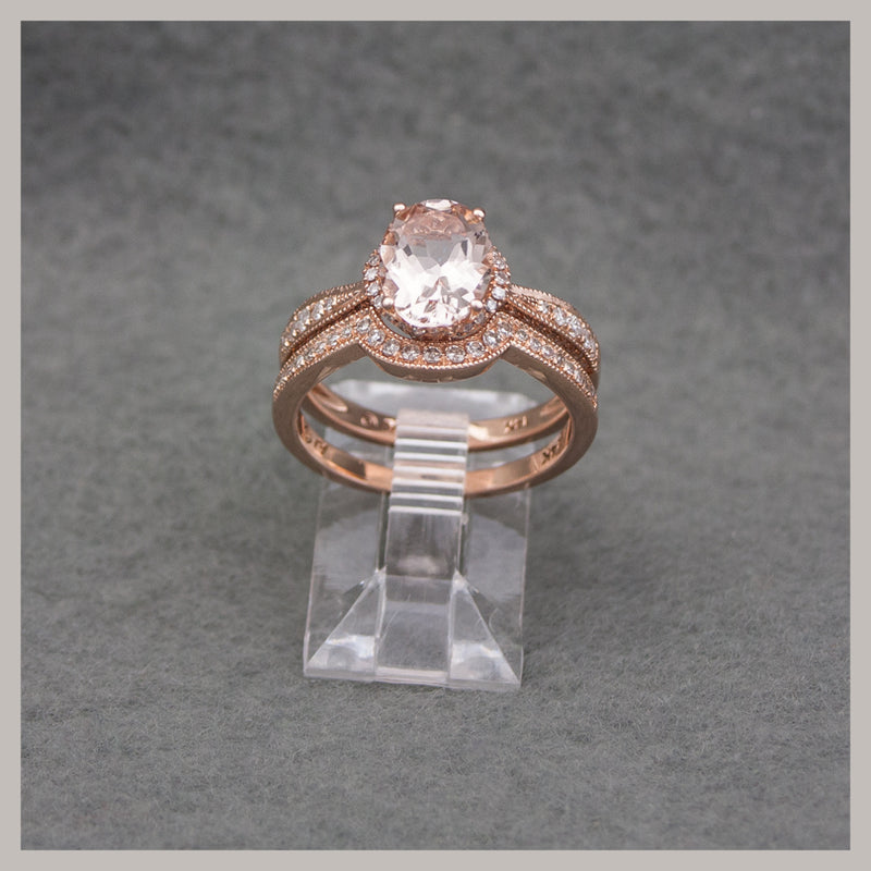 "Morganite Rose Gold Ring ""Bridal set"""