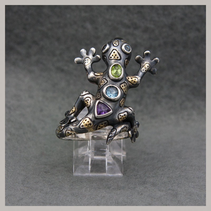 Peridot, Topaz, and Amethyst Ring