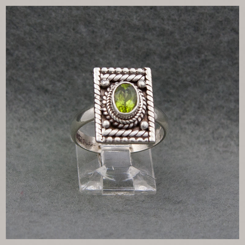 Rectangle Peridot Ring