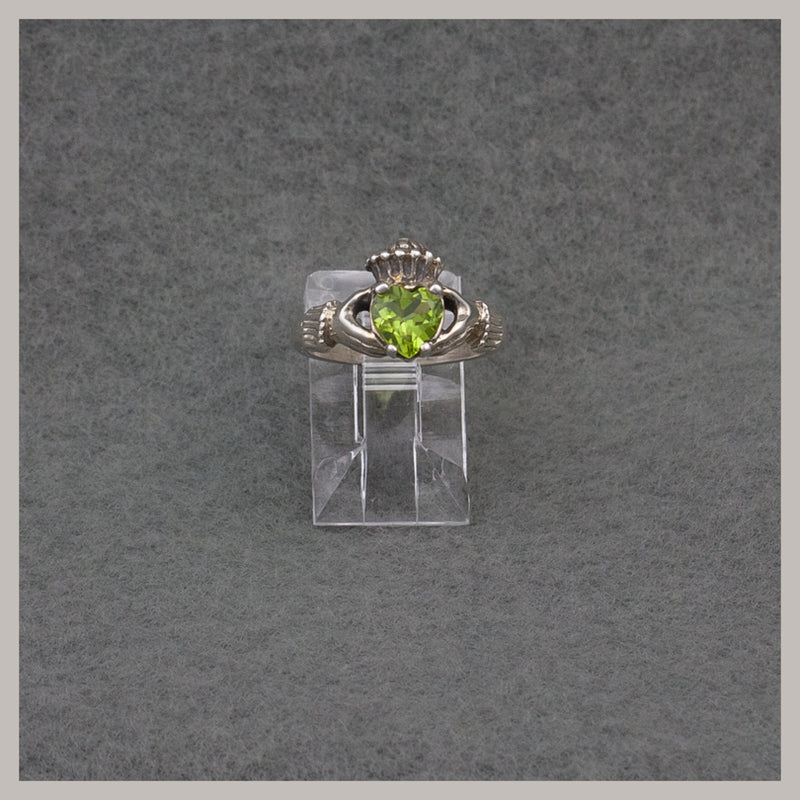 Silver Peridot Claddagh Ring