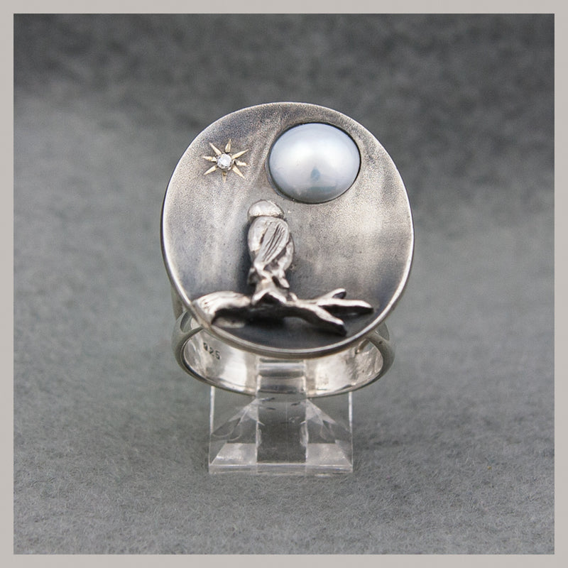Pearl Owl Ring