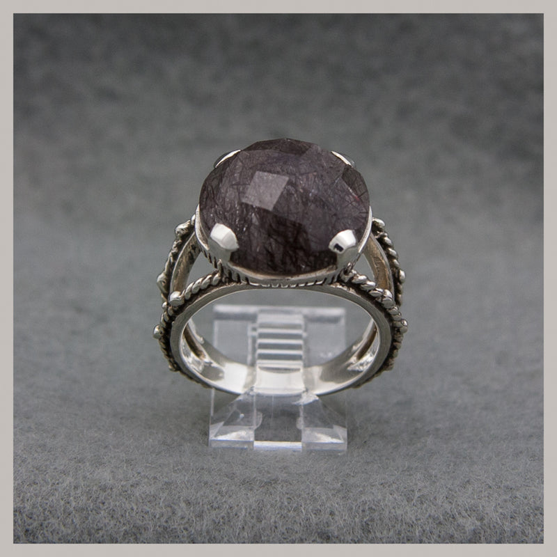 Faceted Tourmilated Quartz Ring