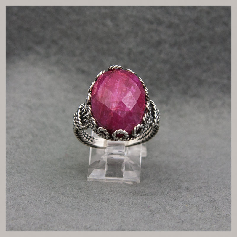Oval Checkerboard Ruby Ring