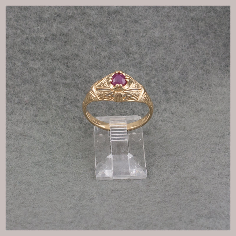 Gold Marquis Style Ruby Ring
