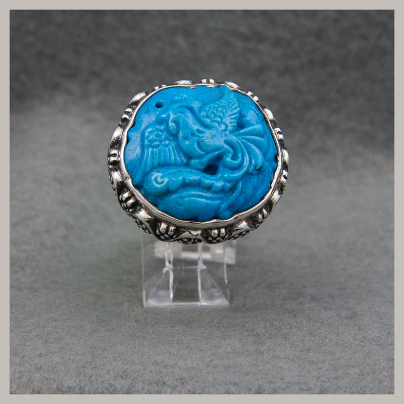 Turquoise Carved Ring