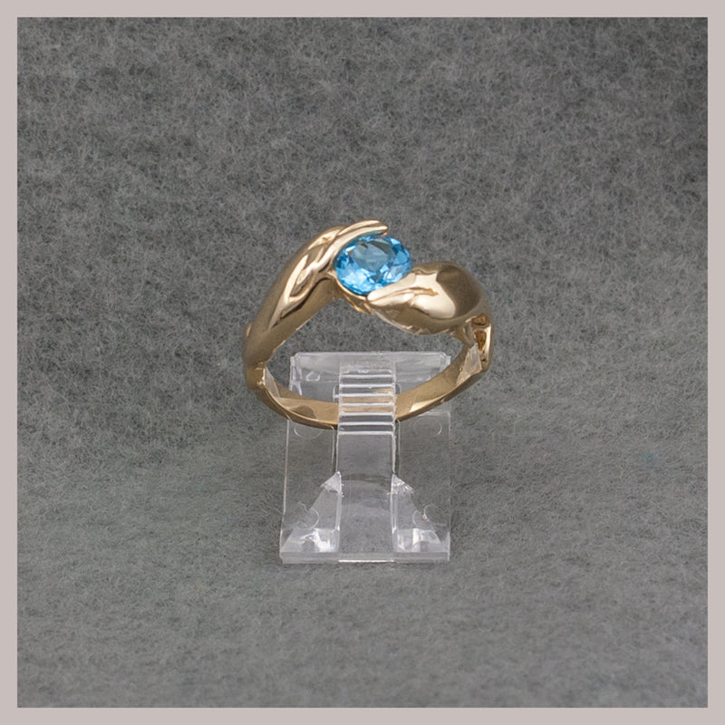 Topaz and Gold Dolphins Ring