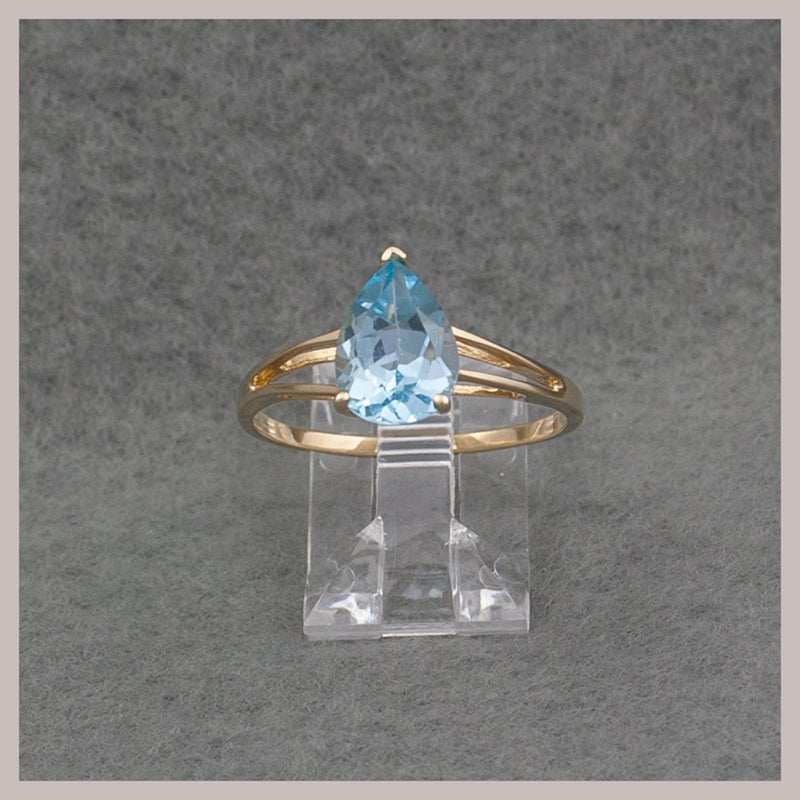 Tear Drop Blue Topaz Ring
