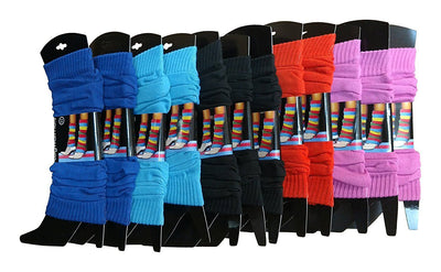 12 Pairs Womens Girls Colorful Legwarmers, Bulk Packs, One Size
