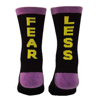 Fear-less-black-purple-yellow-athletic-socks