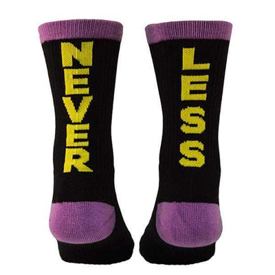 Never-less-crew-socks-black-yellow-purple