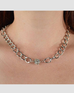 Chain Link Necklace w/ Rhinestone Bead Detail
