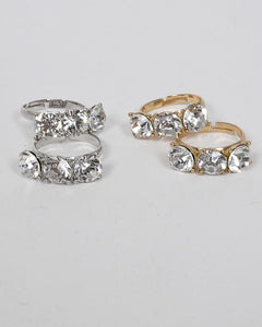 Set of Two Small Crystal Studded Ring