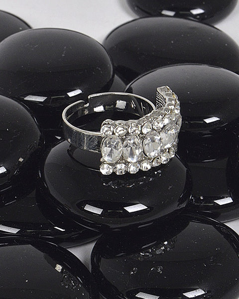 Adjustable Crystal Encrusted Statement Ring