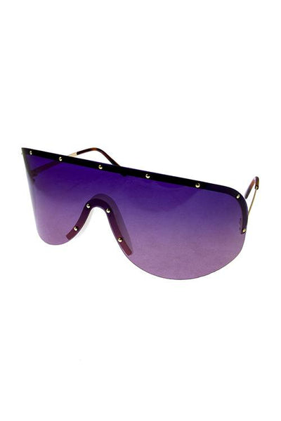 Womens rimless polarized one piece aviator sunglasses