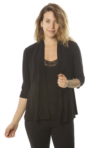 Ladies fashion  petite 3/4 sleeve open front cardigan