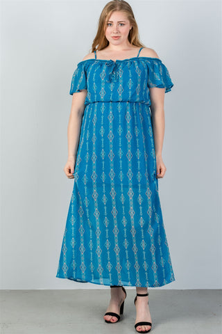 Ladies fashion plus size blue cold shoulder maxi dress