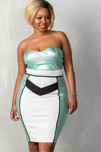 Ladies fashion plus size mint & white colorblock strapless bustier  midi dress