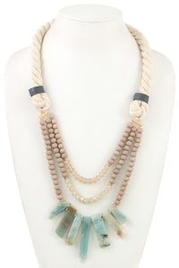 Ladies multi bead fringe semi precious stone rope necklace