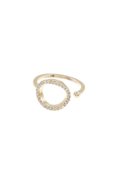 Ladies cz stone cuff brass ring