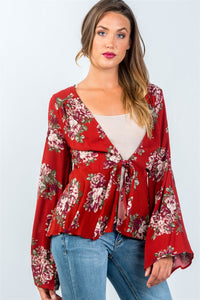 Ladies fashion red and floral print long sleeve tie front top