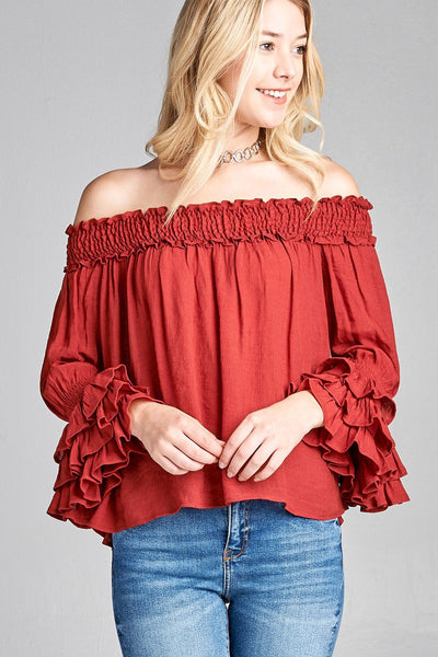 Ladies fashion long sleeve w/ruffle off the shoulder woven top