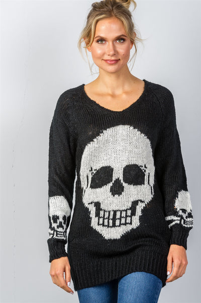 Ladies fashion contrast skull printed pullover sweater