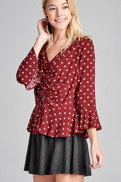 Ladies fashion 3/4 sleeve v-neck w/shirring detail flared hem dot print woven top