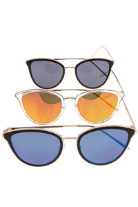 Ladies color lens metal framed sunglasses