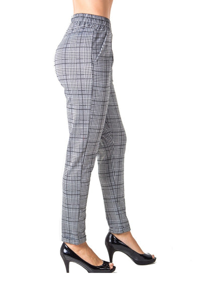 Ladies fashion casual plaid trouser pants