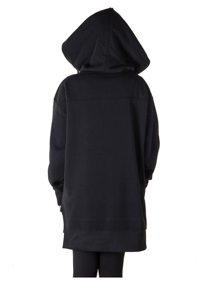 Ladies fashion solid black-ladies fleece zip up sweatshirt oversize long hoodie outerwear jacket