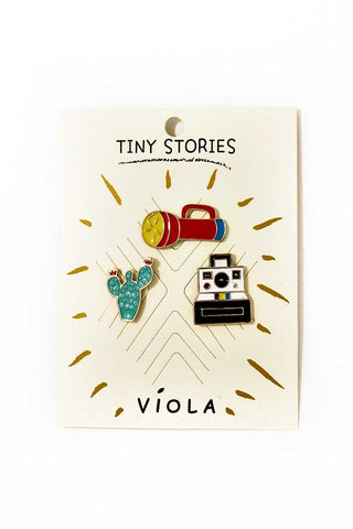 Travel theme pin set
