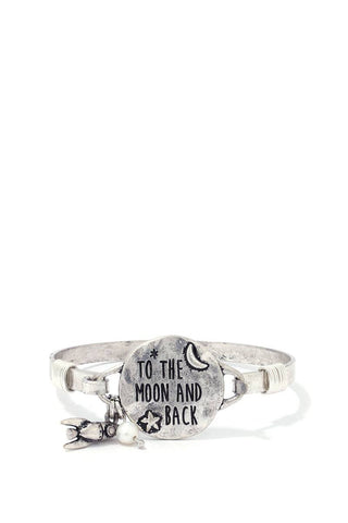 """to The Moon And Back"" Engraved Metal Bracelet"