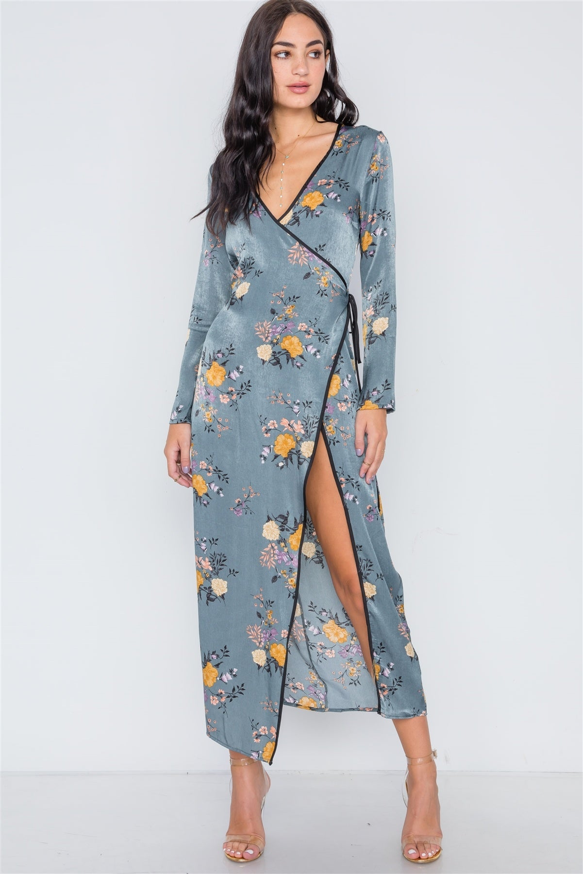 Storm Blue Side Slit Floral Wrap Maxi Dress