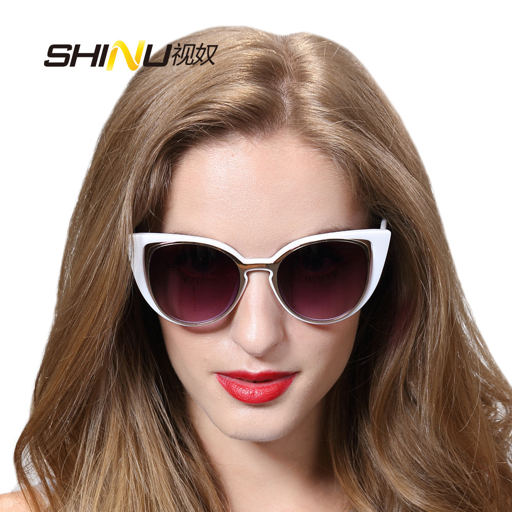 Vintage Cat Eye Sunglasses Women  new summer sun glasses with leather box  SH71015