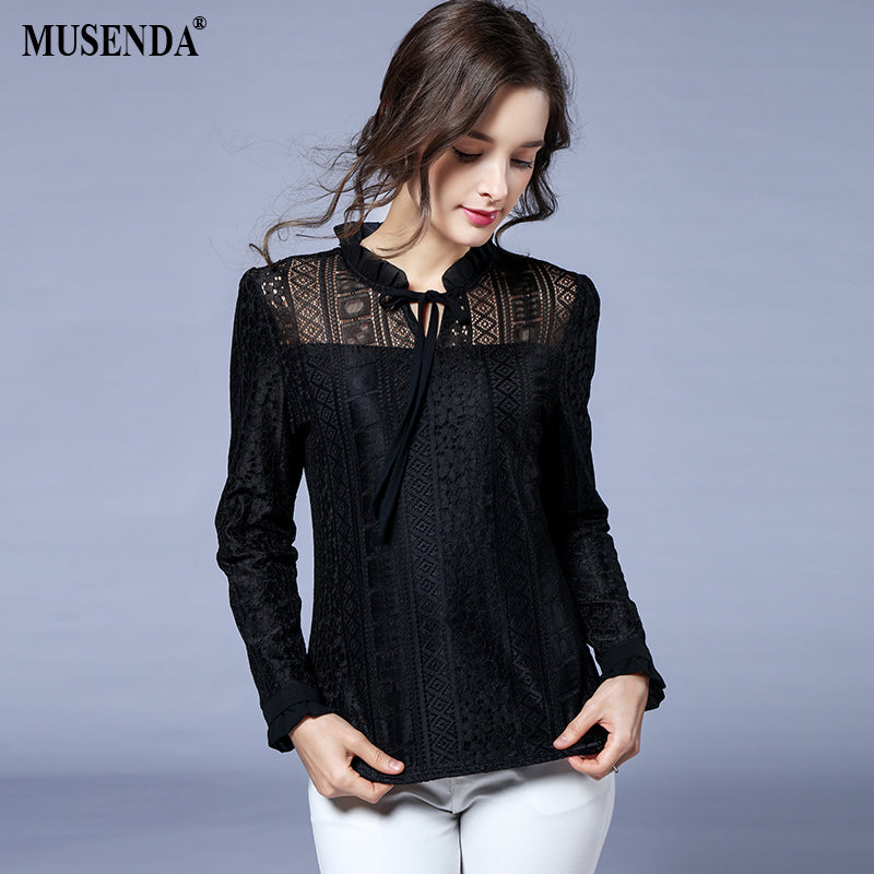 MUSENDA Women Elegant Elastic Thicken Lace Fleece Blouse 2018 Spring Winter Female Office
