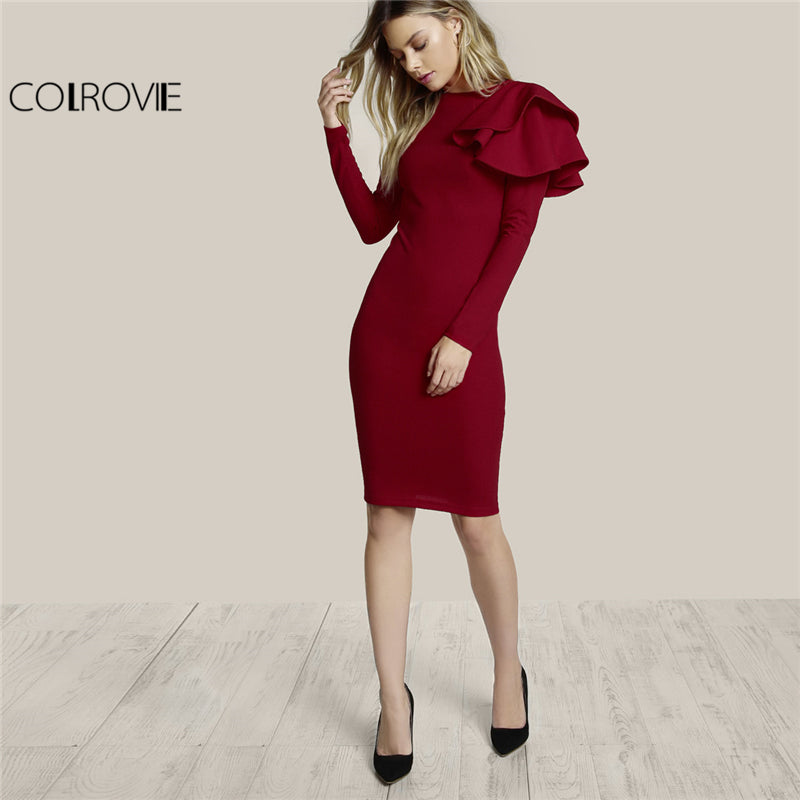 COLROVIE Round Neck Long Sleeve Elegant Bodycon Dress Women Plain One Side