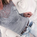 Solid Lace Fashion Women Sexy Slim Ladies Tops Long Sleeve Splicing Cold Shoulder Blouse