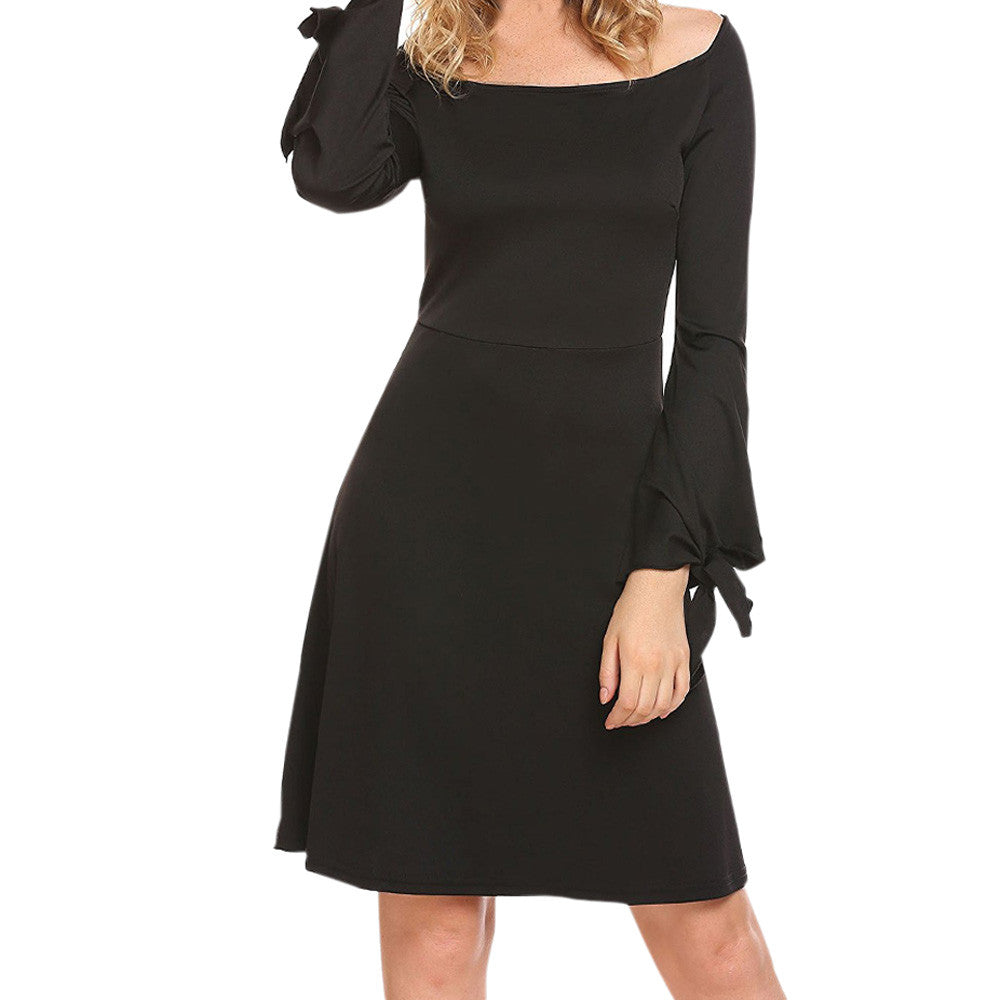 2018 Fashion Ladies Solid Black Long Sleeve Office Formal Dress Women Spring