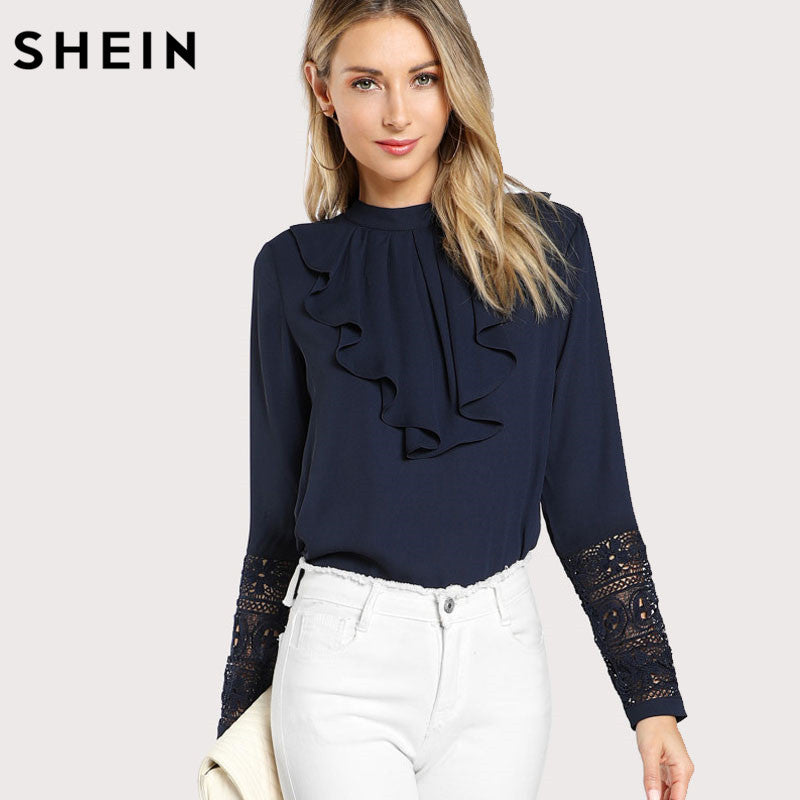 SHEIN Navy Blue Ruffle Blouse Elegant Contrast Lace Button Round Neck Long Sleeve