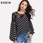 SHEIN Spring 2018 Elegant Womens Tops and BlousesBishop Sleeve Floral Lace Shoulder Polka