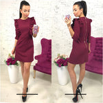 women's Ruffles dress casual o-neck 3/4 sleeve Tunic dresses