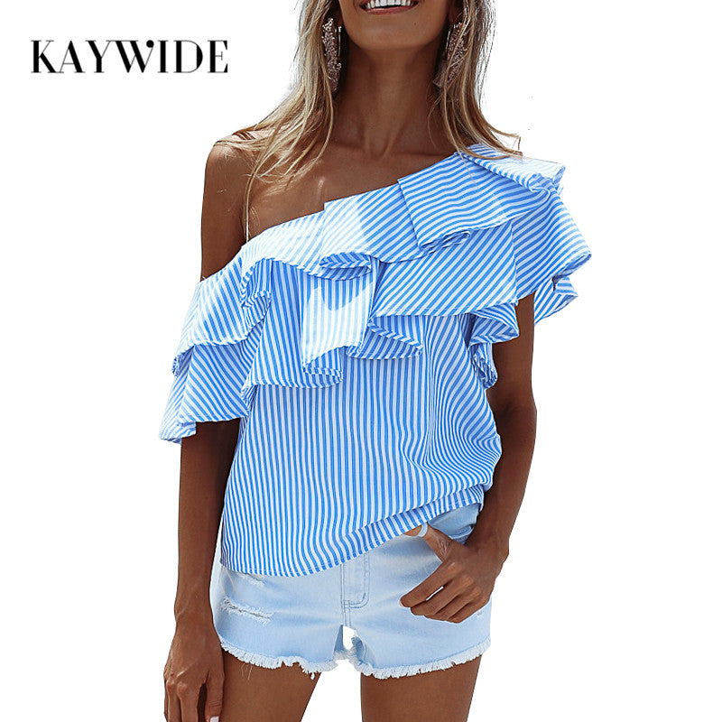 KAYWIDE Spring Women Blouse Series One Shoulder Ruffles Shirt Tops Summer Striped Shirt