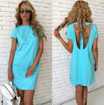 Women Sexy Back Hollow Slim Mini Straight Dress