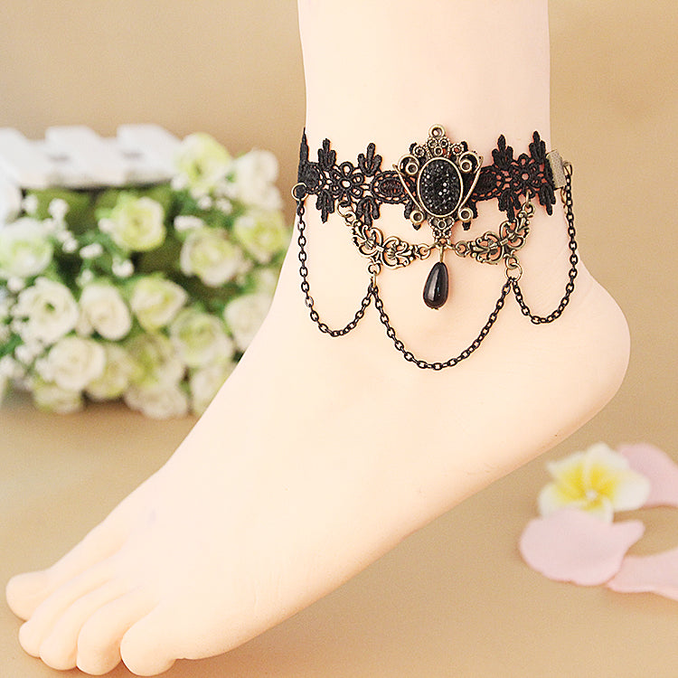 12 pcs/lot Vintage Bracelet Lace Anklet Ankle Leg Chain Charm Crown