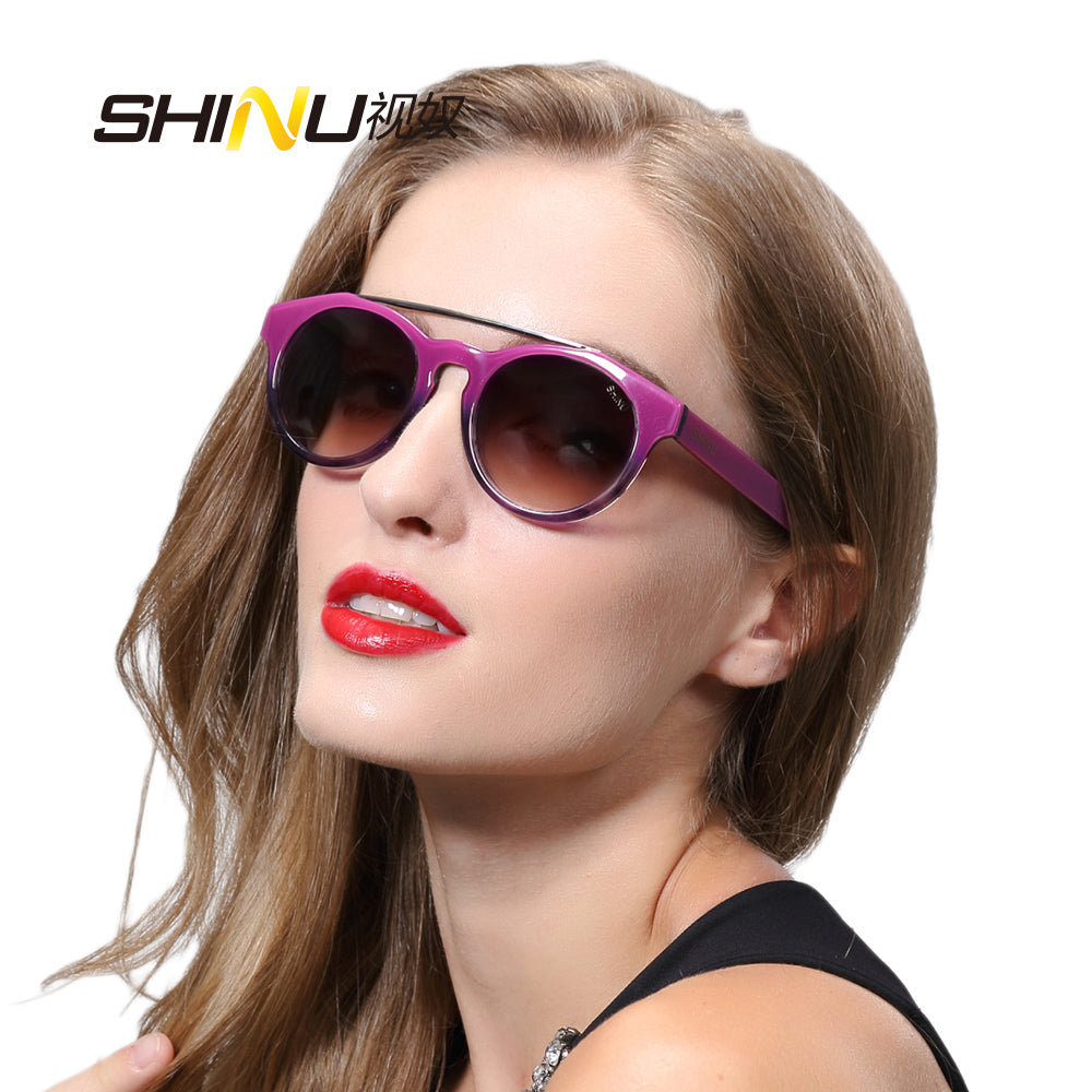 retro round sunglasses women fashion brand designer Oculos