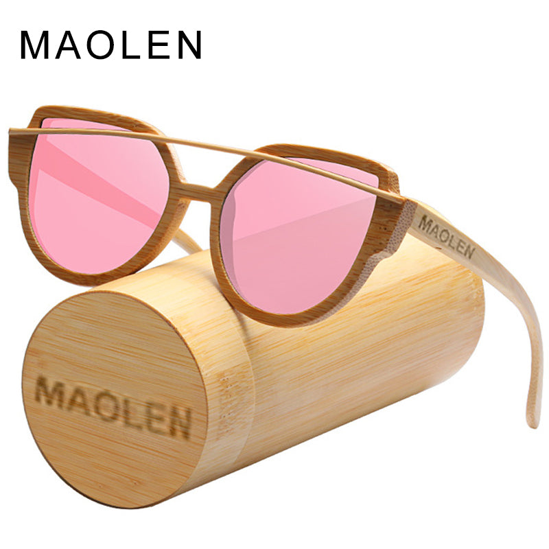 MAOLEN Cat Eye Wood Sunglasses Women Polarized Classic Brand Designer