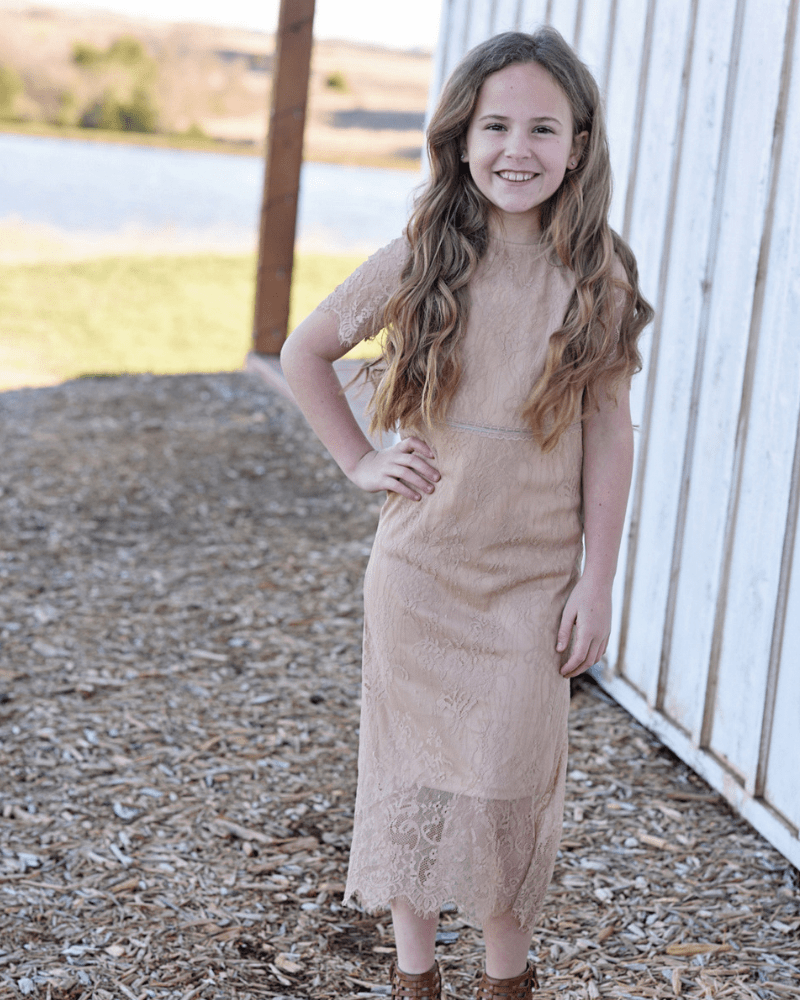 b741503a193 Champagne Dress with Lace Overlay - Girls   Tween Boutique Dresses Jumpsuit Applesauce  Girls Boutique