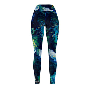 Women's Blue Descent Hand Sewn Leggings
